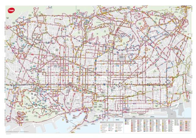 Карта автобусов Барселоны
