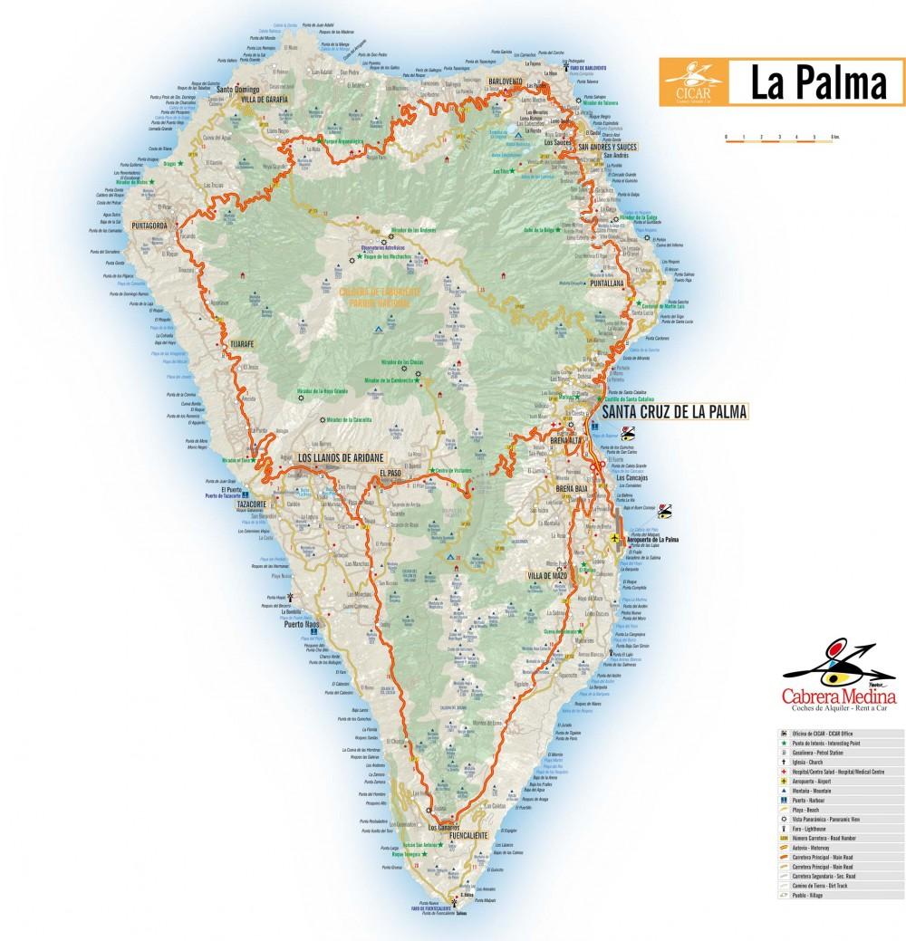 Распечатайте карту Ла Пальмы