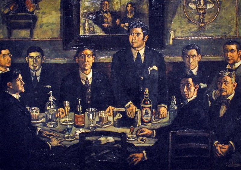 Гутьеррес Солан «Пирушка в кафе Помбо» (1920 г.)
