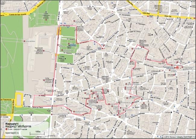 Карта прогулки Мадрид Габсбургов