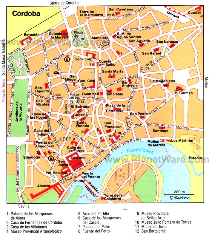 Карта достопримечательностей Кордовы