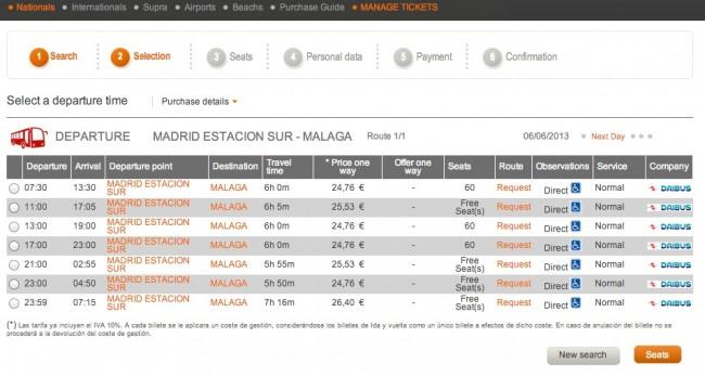 билеты на автобус Мадрид Малага