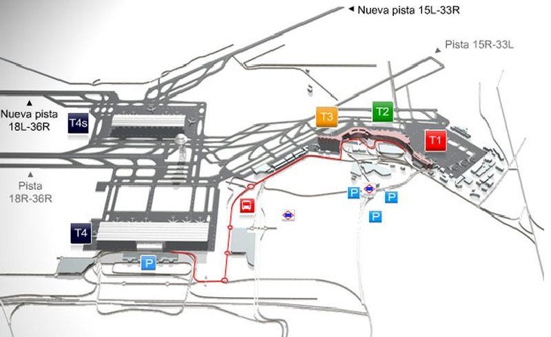 Схема аэропорта Мадрид-Барахас