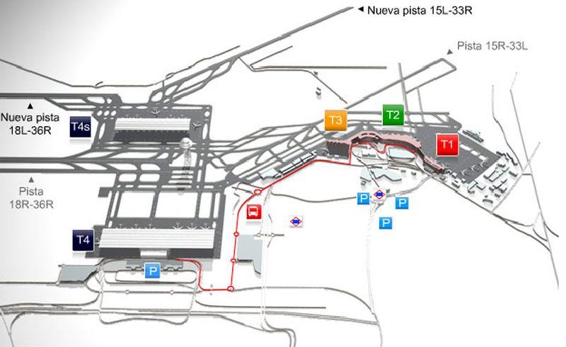 Схема терминалов аэропорт мадрида