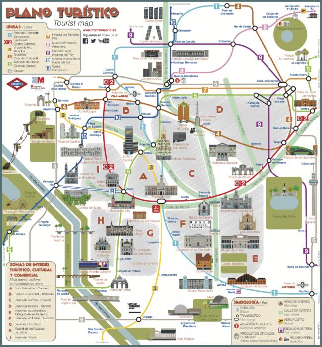 Карта достопримечательностей + метро