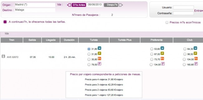 Покупка билета на поезд в Испании