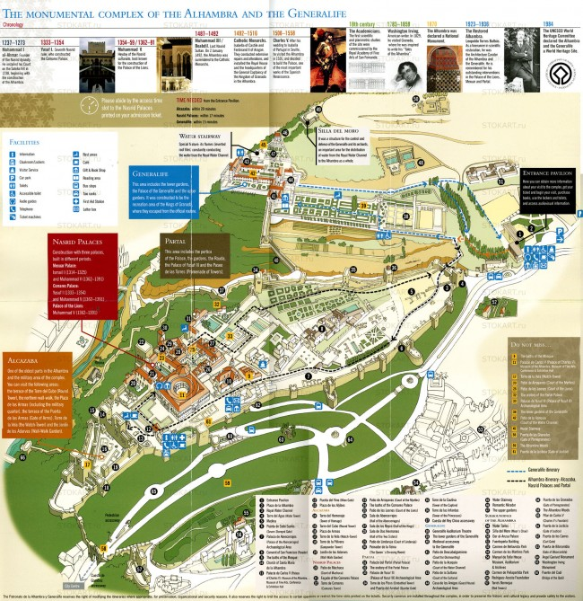 Карта прогулок по Альгамбре