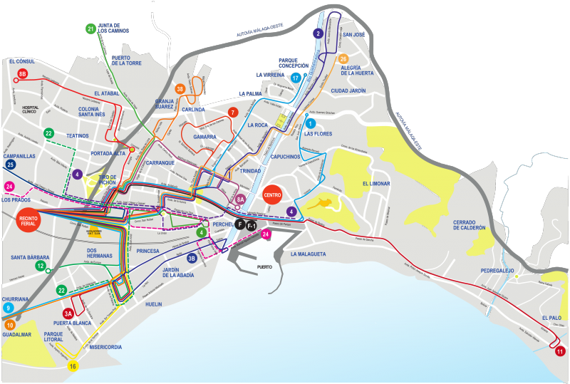 Маршруты автобусов в Малаге