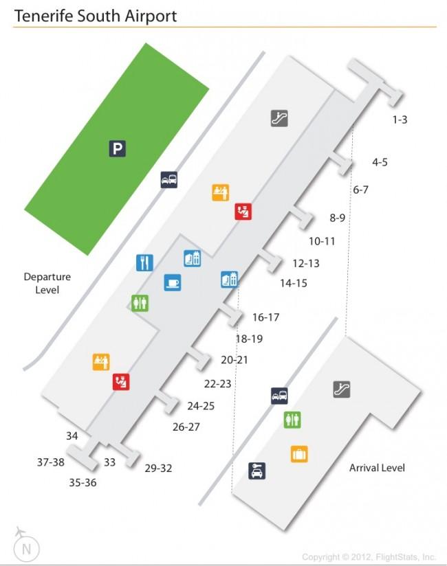 Схема аэропорта Тенерифе Южный