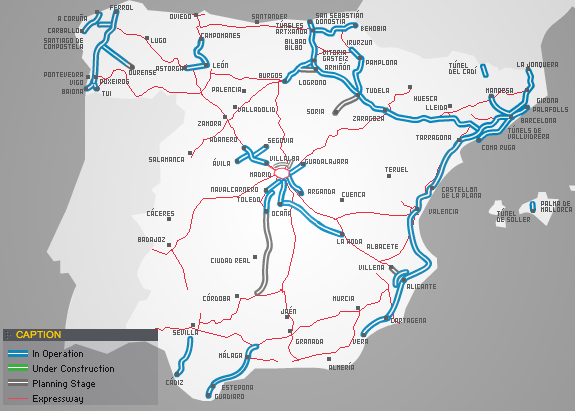 Карта платных дорог Испании