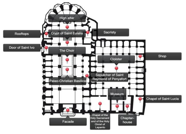 Схема Собора Святого Креста и Святой Евлалии