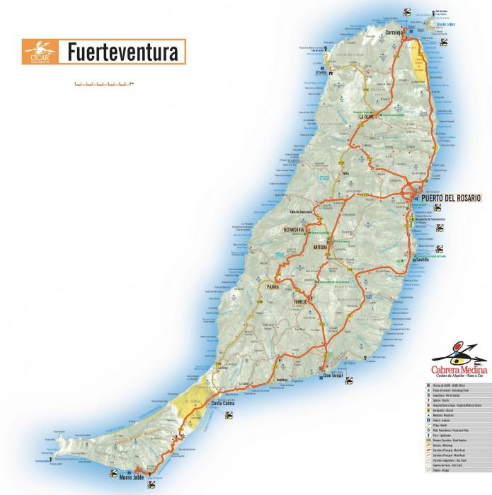 Распечатайте карту Фуэртевентуры