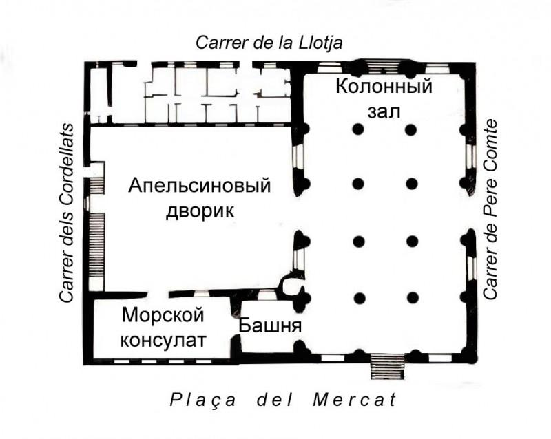 План шёлковой биржи (Lonja de la Seda)
