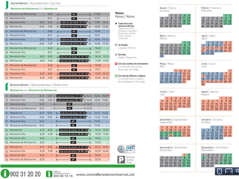 Расписание зубчатой железной дороги (Cremallera)