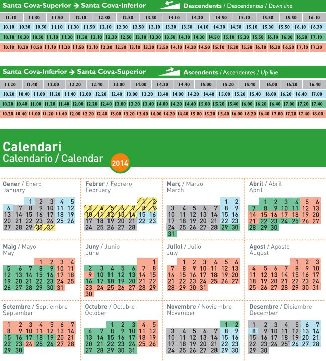 Расписание фуникулера Santa Cova