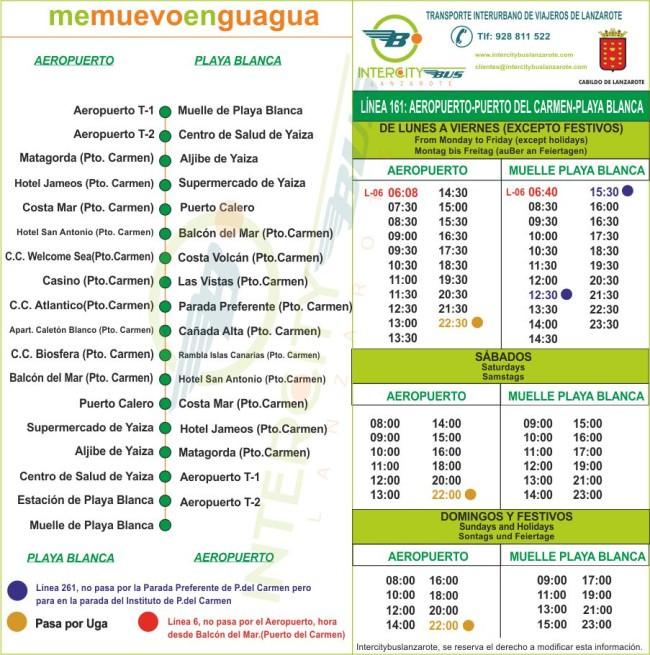 Расписание автобуса №161 Airport Lanzarote → Puerto del Carmen → Playa Blanca
