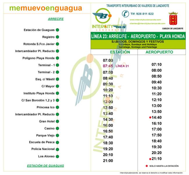 Расписание автобуса №23 Arrecife → Airport Lanzarote → Playa Honda