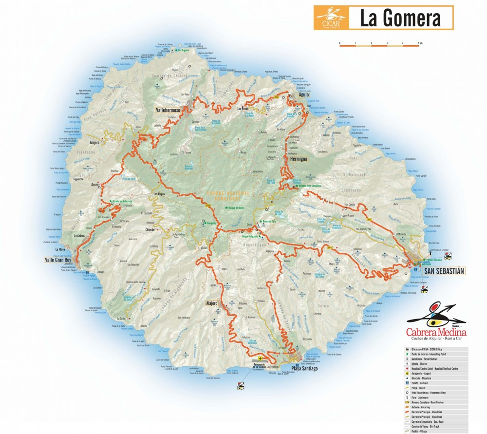 Распечатайте карту Ла Гомеры