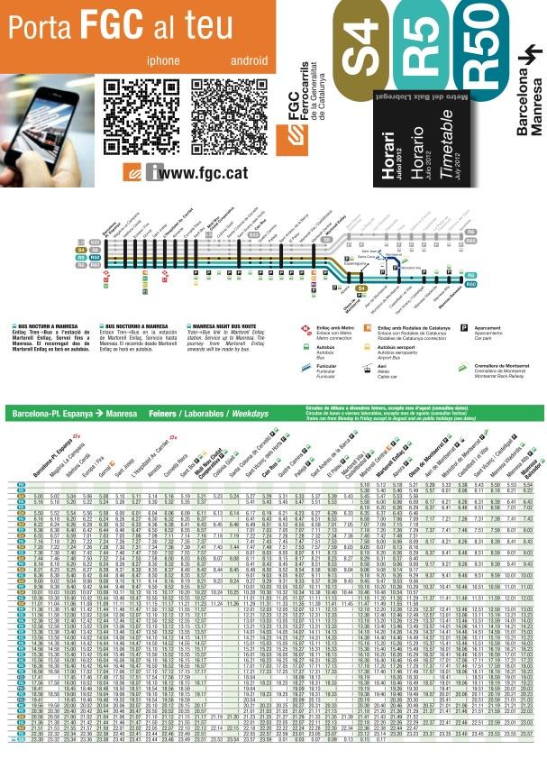 Расписание поездов Барселона ↔ Монтсеррат