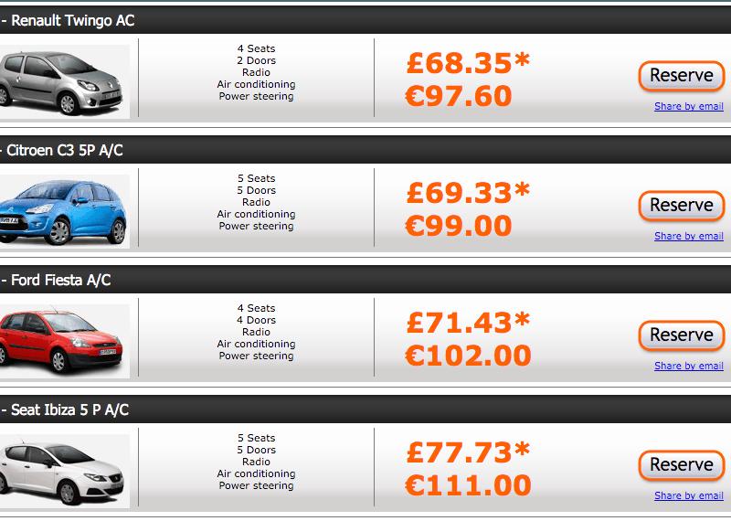 Цены Auto Reisen на Тенерифе