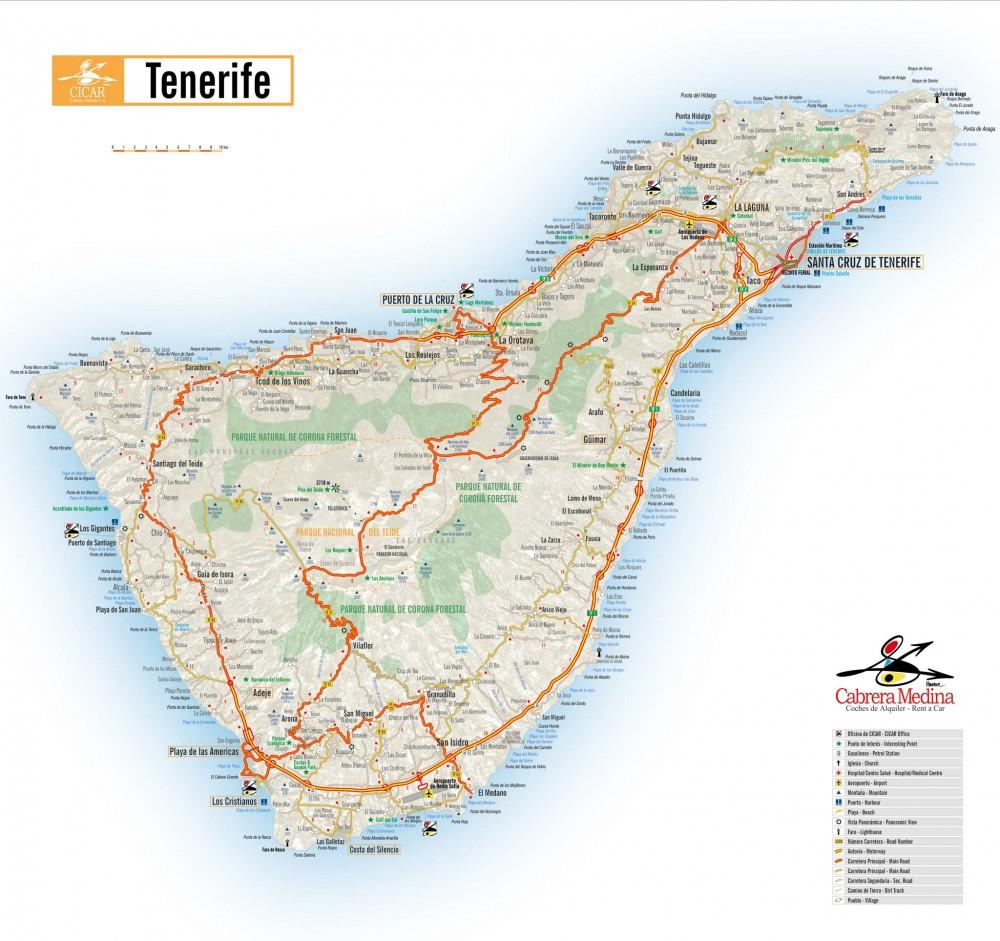 Распечатайте карту Тенерифе