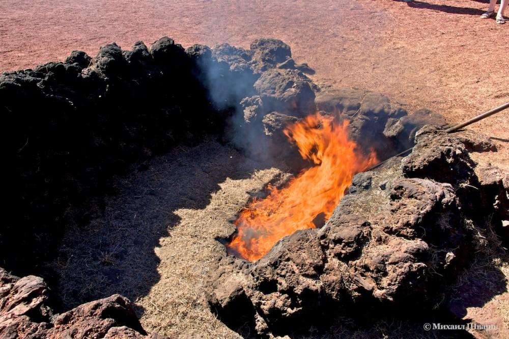 Сухая трава вспыхнувшая от вулканического жара