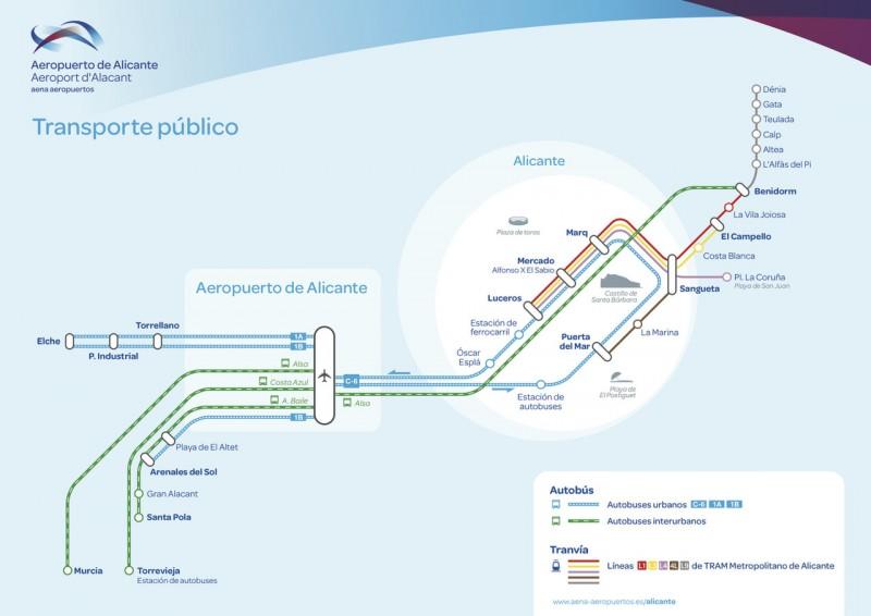 Схема общественного транспорта от Аэропорта Аликанте-Эльче