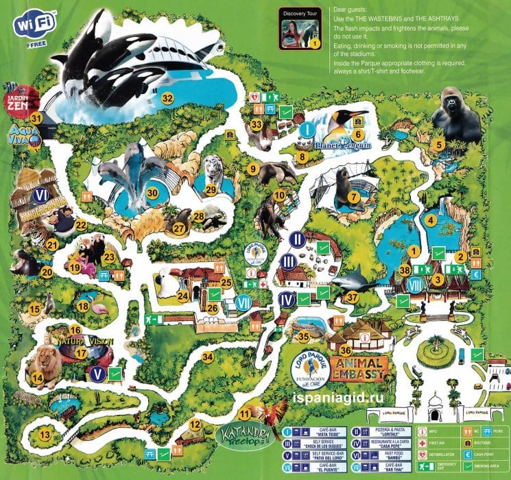 Loro parque map large