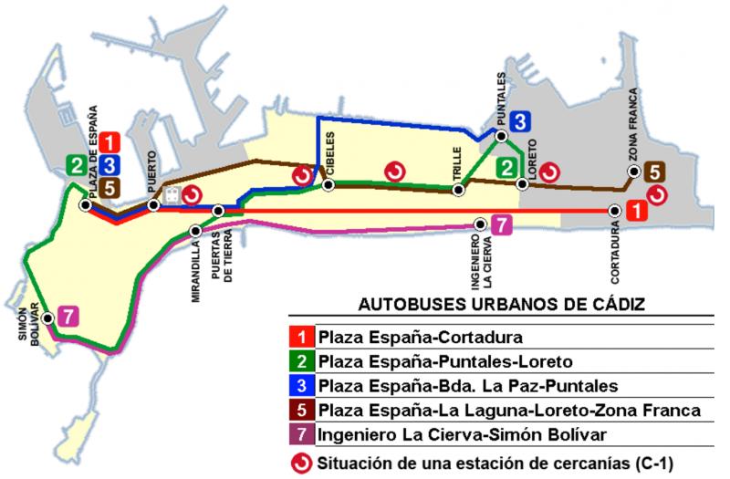 Схема городского транспорта города Кадис