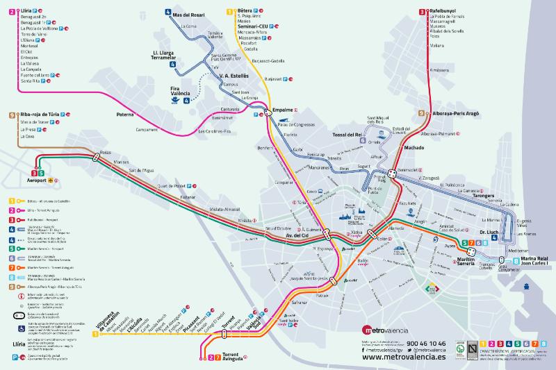 Карта городского транспорта Валенсии