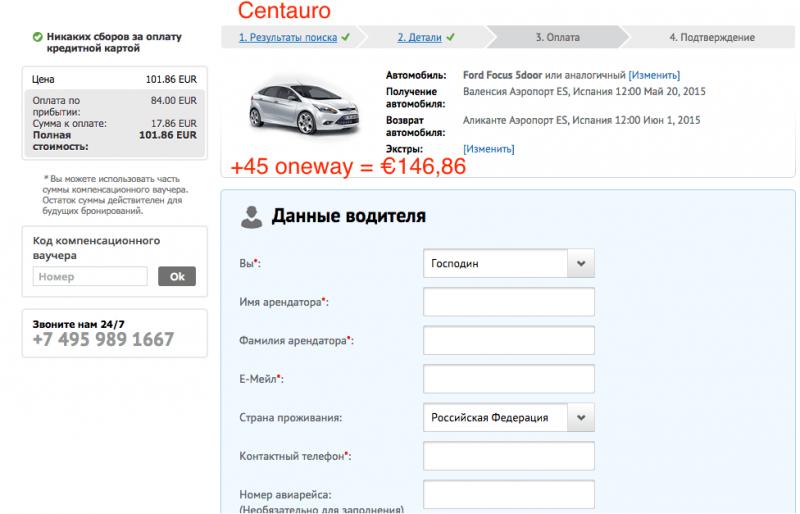 Цена Ford Focus в Centauro через eAvtoprokat