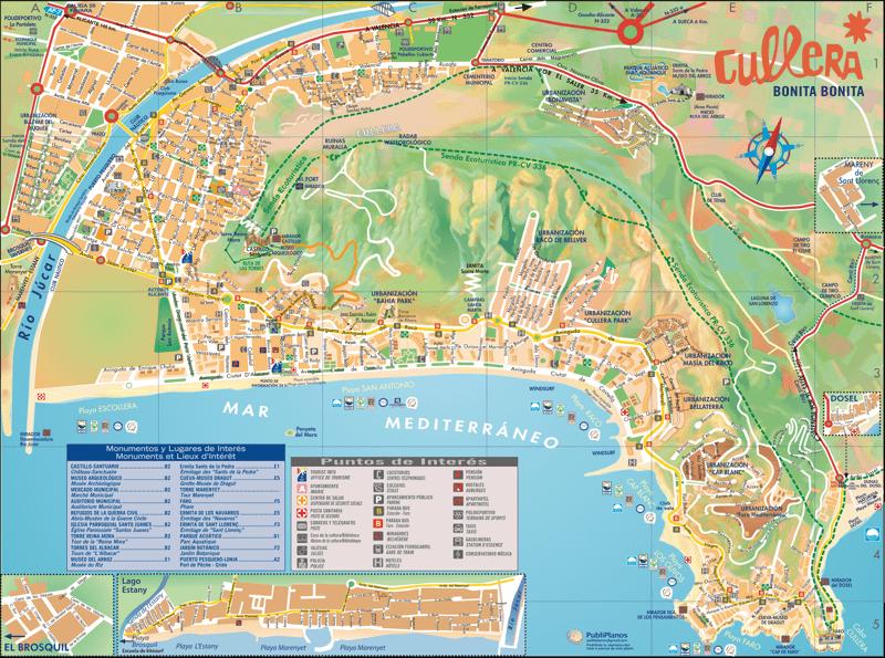 Подробная карта Кульеры