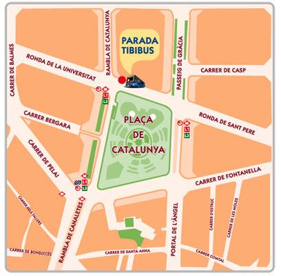 Расположение автобусной остановкина площади Каталонии