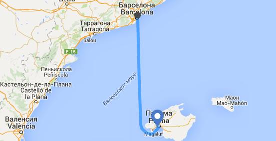Маршрут Барселона – Пальма де Майорка (Balearia)