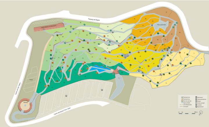 Карта Ботанического сада Барселоны