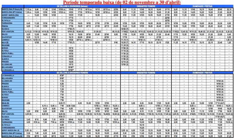 Расписание автобусов Plana со 02 ноября по 30 апреля