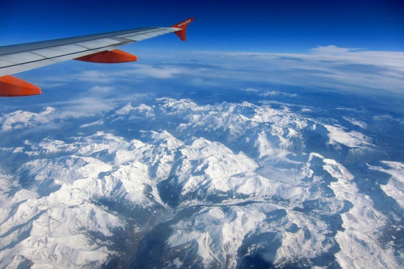 Пиренеи, вид из самолета Барселона → Париж