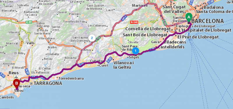 1-й маршрут, Barcelona – PortAventura