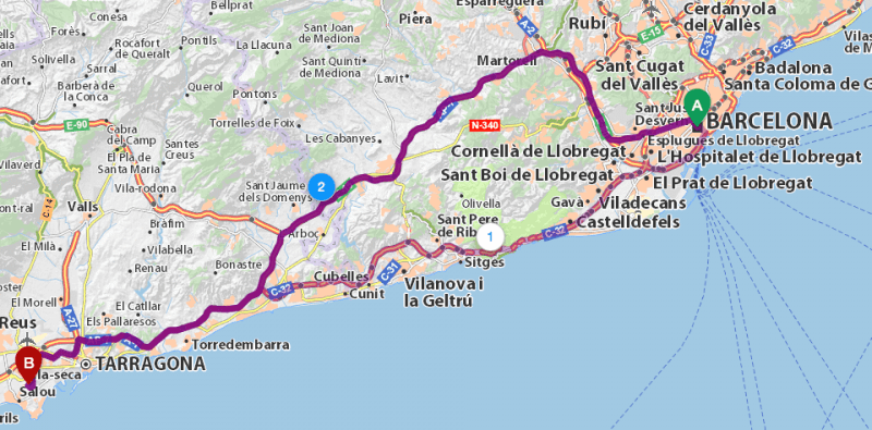 2-й маршрут, Barcelona – PortAventura