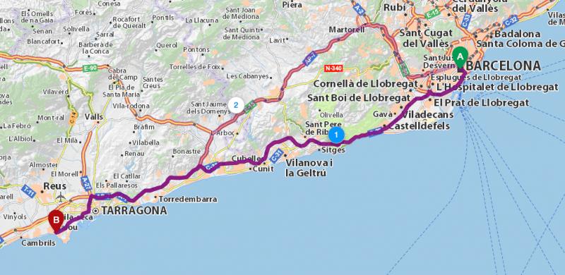 1-й маршрут, Barcelona – Salou