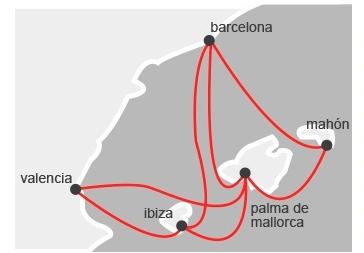 Схема маршрутов парома Acciona Trasmediterranea