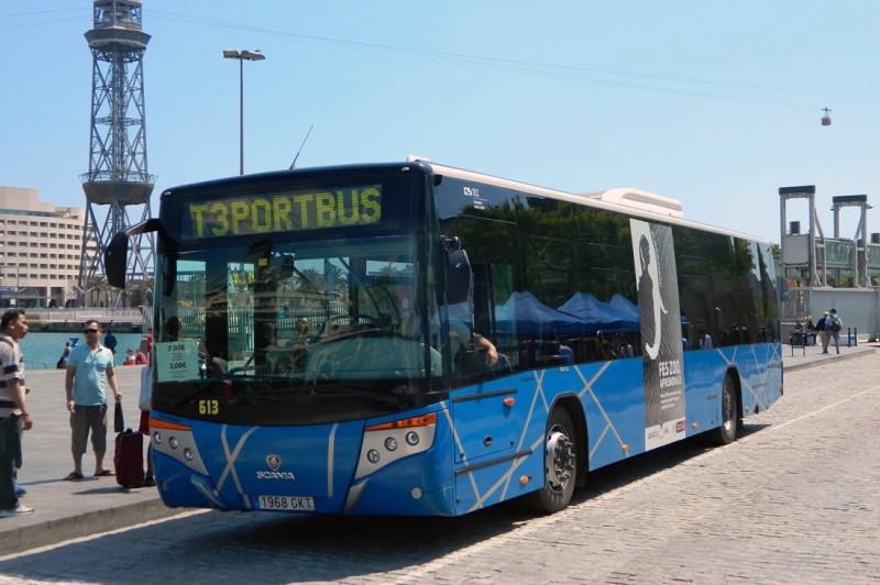 Автобус T3 в порту Барселоны