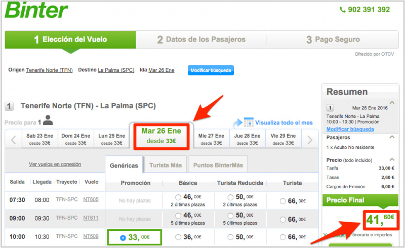 Цена билета на сайте авиакомпании Binter Canarias