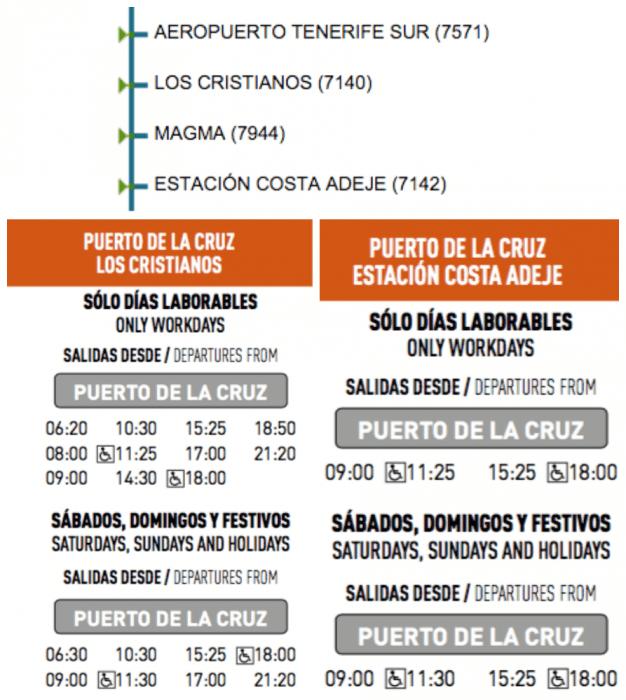 Расписание и остановки автобуса 343 из Пуэрто-де-ла-Крус