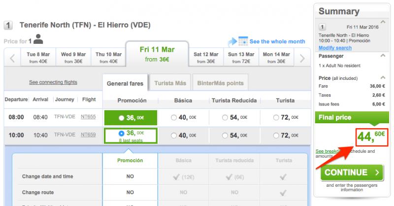При следующем шаге к билету добавляются налоги и сборы. Цена уже = € 44,60.