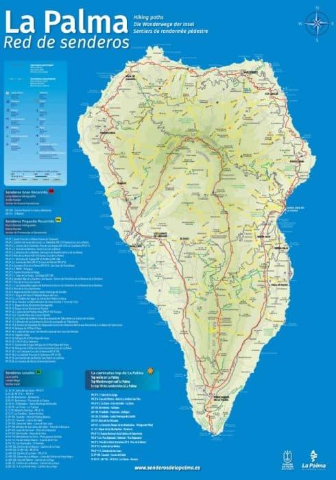 Карта маршрутов по Ла Пальме