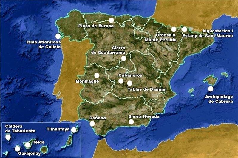 Карта Национальных парков Испании