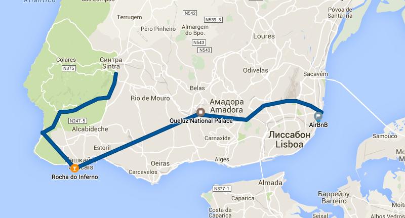 Авто маршрут из Синтры в Лиссабон