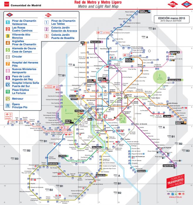 Схема Мадридского метрополитена