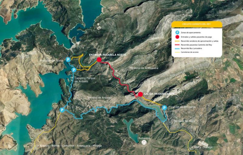 Карта маршрута Caminito del Rey